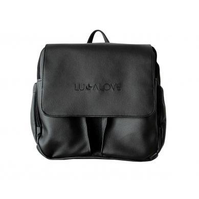 Lullalove - Torba-plecak do wózka - czerń ekoskóra