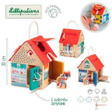 Lilliputiens - Drewniany Domek Manipulacyjny z Zamkami Lisek Włamywacz 3+