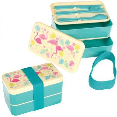 Rex - Dwupoziomowy Lunchbox ze Sztućcami Flamingo