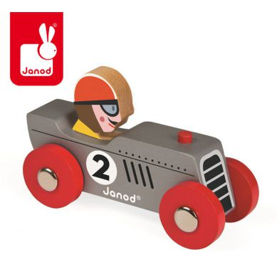 Janod - Wyścigówka Drewniana Retromotor Srebrna