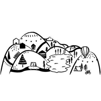 Pastelowelove - Naklejka na Ścianę Góry Czarne L 180x90 cm