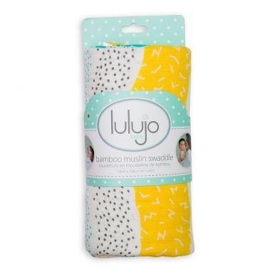 Lulujo - Kocyk Bambusowy Aqua Spotted Stripe