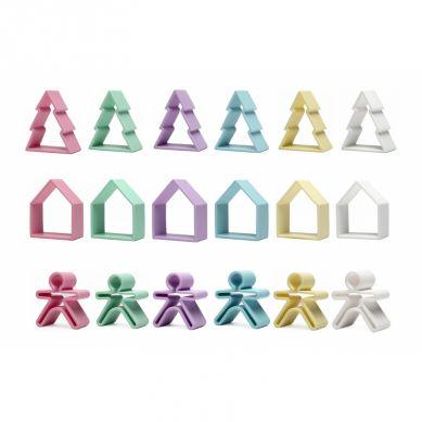 Dena - Zabawka Kreatywna 6 x Kid + 6 x House + 6 x Tree Pastel 10m+