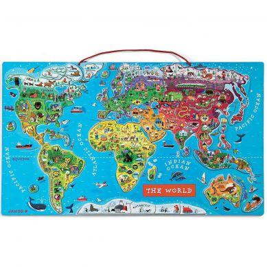 Janod - Puzzle Magnetyczne Mapa Świata 7+