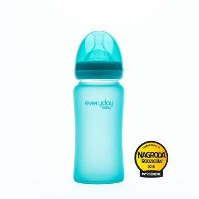 Everyday Baby - Szklana butelka reagująca na temperaturę 240ml Turkusowa