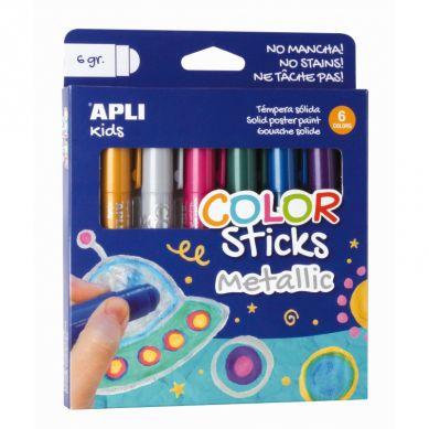 Apli Kids - Farby w Kredce 6 kolorów Metaliczne