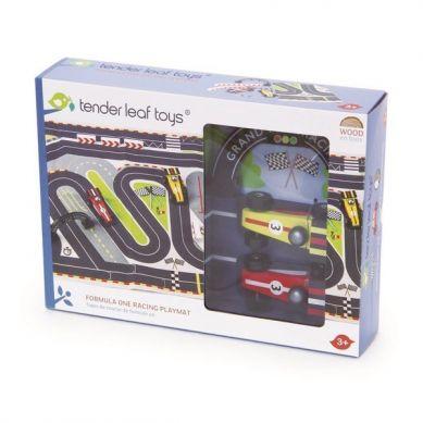 Tender Leaf Toys - Mata Tor Formuła 1 z Drewnianymi Samochodami 3+