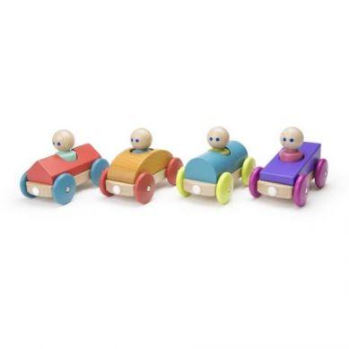 Tegu - Drewniane Klocki Magnetyczne Baby and Toddler Wyścigówka Orange 1+