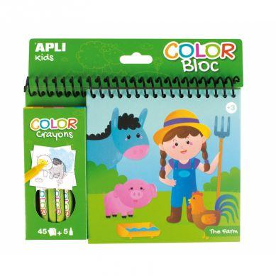 Apli Kids - Kolorowanka z Kredkami Farma