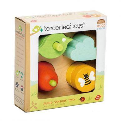 Tender Leaf Toys - Drewniane Zabawka Sensoryczna Ogród Kształty i Dźwięki 18m+