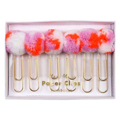 Meri Meri - Spinacze Dekoracyjne do Papieru Pink Pom Pom