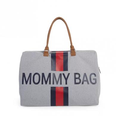 Childhome - Torba Podróżna Mommy Bag Paski Granatowo-Czerwone