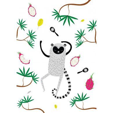 Maki Mon Ami - Plakat Lemur Leon Śpiący (A4)