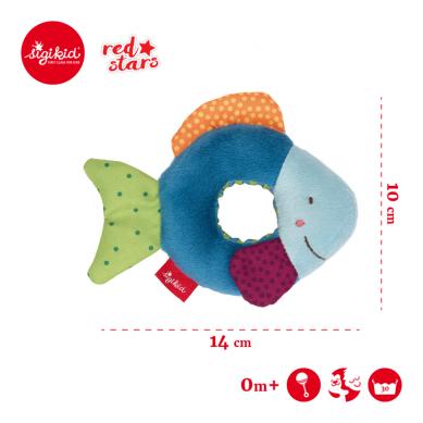 Sigikid - Miękka Mini – grzechotka Rybka Red Stars