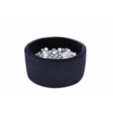 Misioo - Suchy Basen Velvet z 200 Piłeczkami Granatowy 90X40 cm + 200 Dodatkowych Piłek