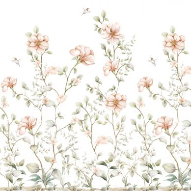 Dekornik - Tapeta Rajski Ogród Pastel White 150cm