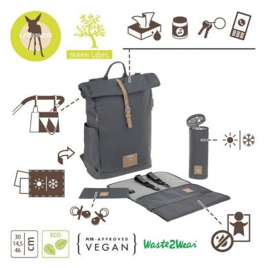 Lassig - Green Label Plecak dla Mam z Akcesoriami Rolltop Backpack Anthracite