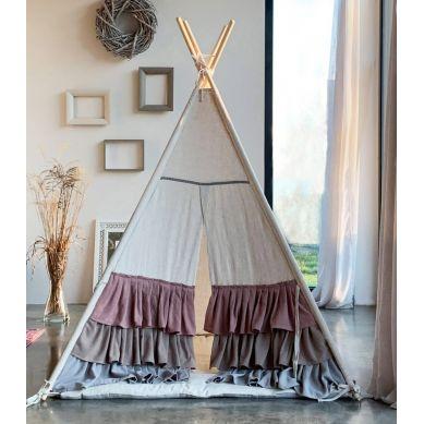 Muzpony - Tipi Lniany Zakątek Namiot dla Dzieci z Matą Podłogową
