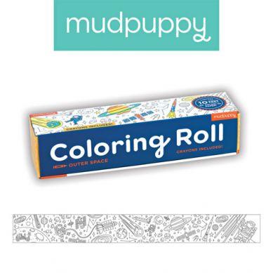 Mudpuppy - Kolorowanka w Rolce 3m z 6 Kredkami w Kosmos