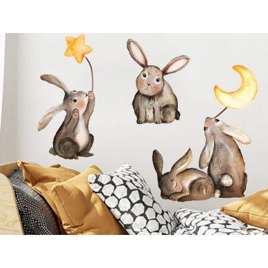 Pastelowelove - Naklejka na Ścianę Zajączki