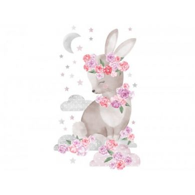 Pastelowelove - Naklejka na Ścianę Królik Różowy
