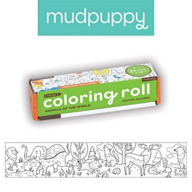 Mudpuppy - Kolorowanka w Rolce 76cm z 4 Kredkami Zwierzeta Świata