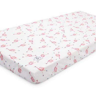 Maki Mon Ami - Bawełniane Prześcieradło z Gumką 60x120 cm Flaming Maja Flamingi