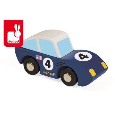 Janod - Wyścigówka Drewniana Roadster Niebieska