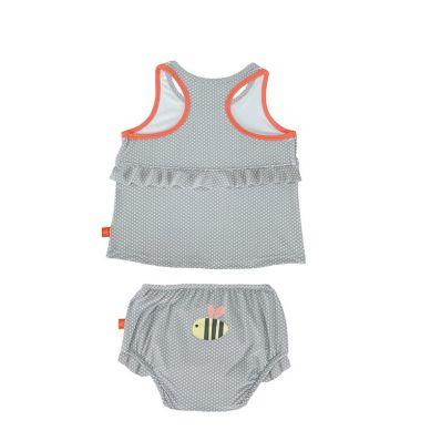 Lassig - Kostium do Pływania Dwuczęściowy z Wkładką Chłonną Polka Dots Grey UV 50+ 6m