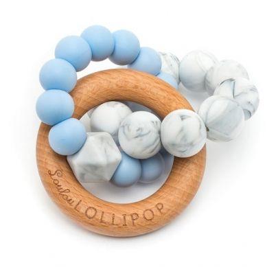 Loulou Lollipop - Gryzak Drewniany z Koralikami Trinity Baby Blue