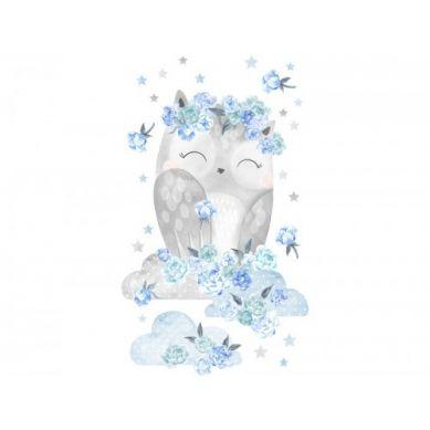 Pastelowelove - Naklejka na Ścianę Sowa Niebieska