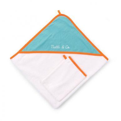 Childhome - Ręcznik z Kapturkiem Jersey z Myjką Pool Blue