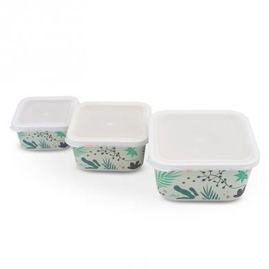 Jollein - 3 Śniadaniówki EKO Lunchbox Leaves