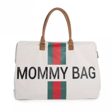 Childhome - Torba Podróżna Mommy Bag Paski Zielono-czerwone