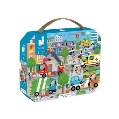 Janod - Puzzle w Walizce Miasto 36 Elementów 4+