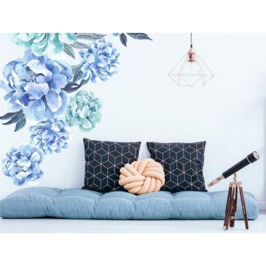 Pastelowelove - Naklejka na Ścianę Piwonie Niebieskie