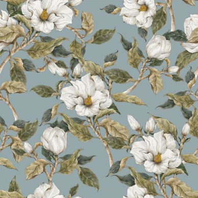 Dekornik - Tapeta Białe Magnolie na Niebieskim Tle