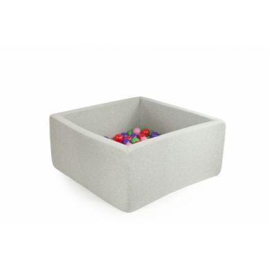 Misioo - Suchy Basen Kwadratowy z 300 Piłeczkami Jasnoszary 90x90x40 cm + 50 Dodatkowych Piłek