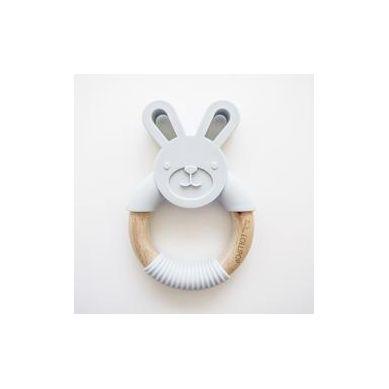Loulou Lollipop - Gryzak Króliczek Silikonowo Drewniany Grey