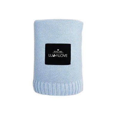 Lullalove - Bambusowy koc tkany Błękitny