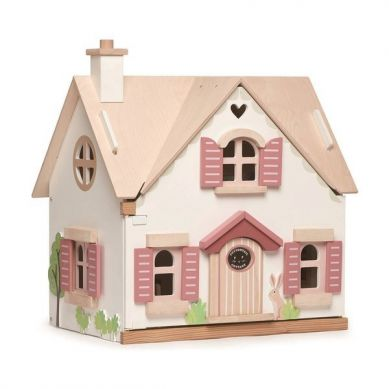 Tender Leaf Toys - Drewniany Dwupiętrowy Domek dla Lalek z Wyposażeniem 3+