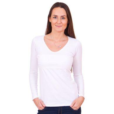 Quaranta Settimane - Koszulka do Karmienia z Długim Rękawem Biała S
