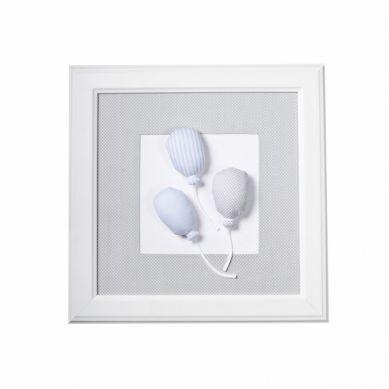 Caramella - Obrazek Jasnoszary z Motywem Błękitnych Baloników