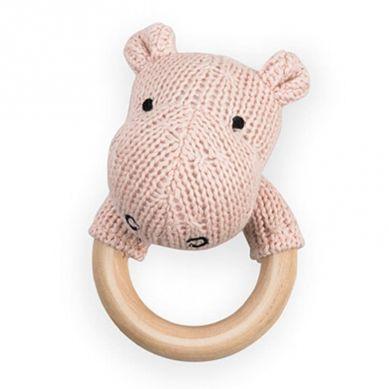 Jollein - Grzechotka z Gryzakiem Drewnianym Hippo Blush