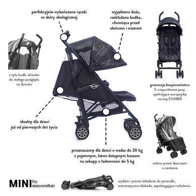 MINI by Easywalker - Wózek Spacerowy z Osłonką Przeciwdeszczową 6,5kg Midnight Jack