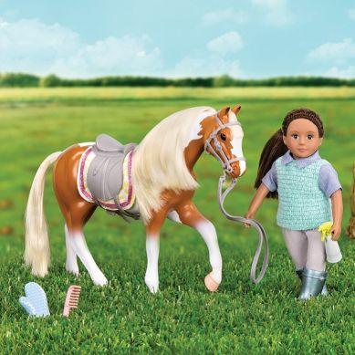 Lori - Łaciaty koń American Paint z akcesoriami do pielęgnacji