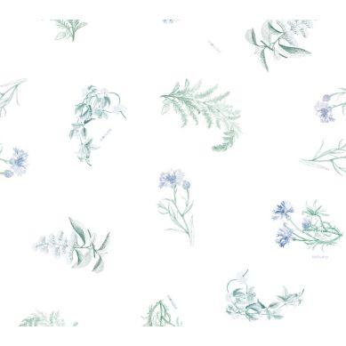 Lullalove - Bawełniana Pościel 100x135 cm Zielnik Niebieski