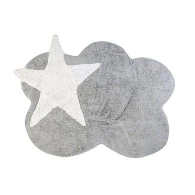 Aratextil - Dywan Bawełniany do Prania w Pralce Szara Chmurka z Białą Gwiazdą 120x160cm