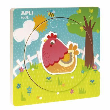 Apli Kids - Drewniane Puzzle z Warstwami Kurka 2+