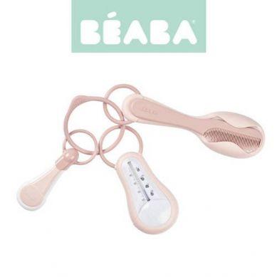 Beaba  Akcesoria do pielęgnacji: termometr do kąpieli, cążki do paznokci, szczoteczka i grzebień Old Pink